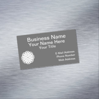 White Flower Ribbon Magnetic Business Card