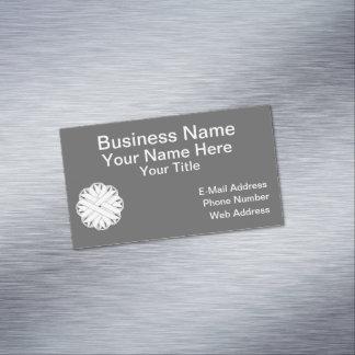 White Flower Ribbon Magnetic Business Card