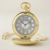 White Flower Ribbon (Mf) by K Yoncich Pocket Watch