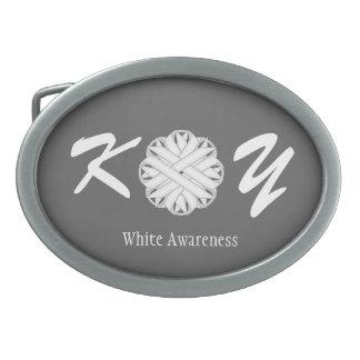 White Flower Ribbon Oval Belt Buckle