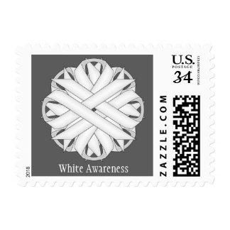 White Flower Ribbon Postage Stamp