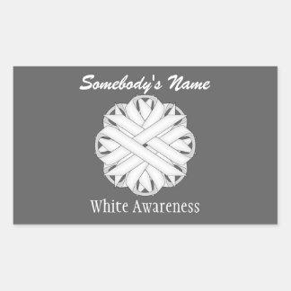 White Flower Ribbon Rectangular Sticker