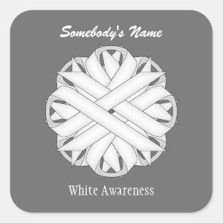 White Flower Ribbon Square Sticker