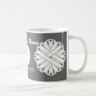 White Flower Ribbon Template by Kenneth Yoncich Coffee Mug