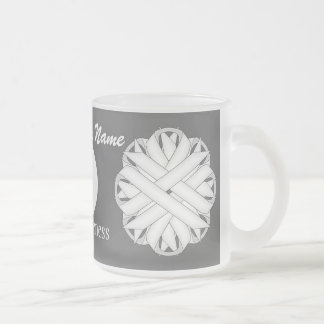 White Flower Ribbon Template by Kenneth Yoncich Frosted Glass Coffee Mug