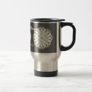 White Flower Ribbon Template by Kenneth Yoncich Travel Mug
