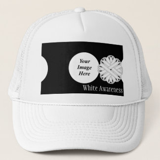 White Flower Ribbon Template by Kenneth Yoncich Trucker Hat
