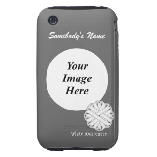 White Flower Ribbon Template Tough iPhone 3 Case