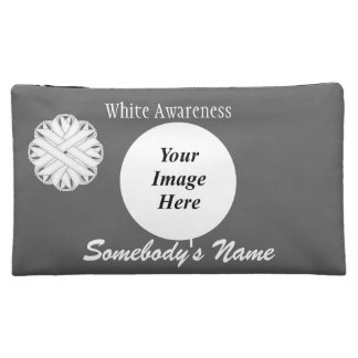 White Flower Ribbon Template Cosmetic Bag