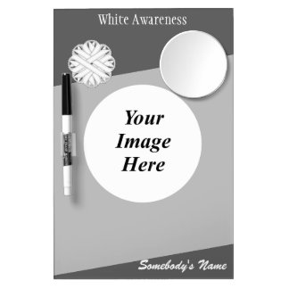White Flower Ribbon Template Dry Erase Board With Mirror