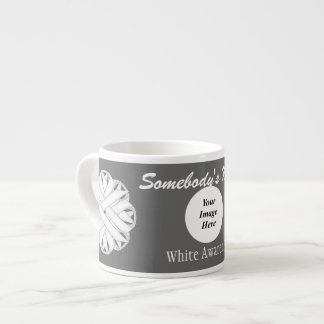 White Flower Ribbon Template Espresso Cup