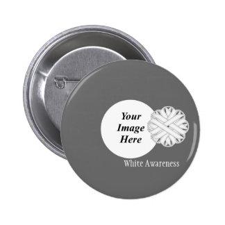White Flower Ribbon Template Pinback Button