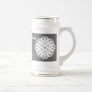 White Flower Ribbon Template Stein 18 Oz Beer Stein