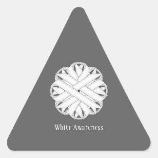 White Flower Ribbon Triangle Sticker