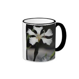 white flower ringer ceramic mug