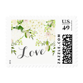 White flower, rose hydrangea postage stamps