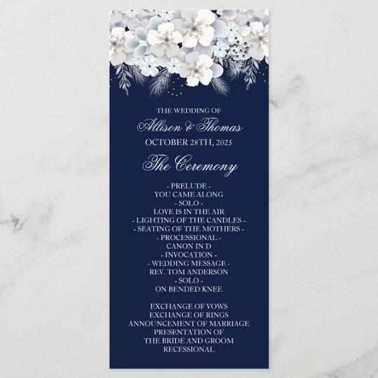 White Flower Sakura Navy Blue Wedding Program
