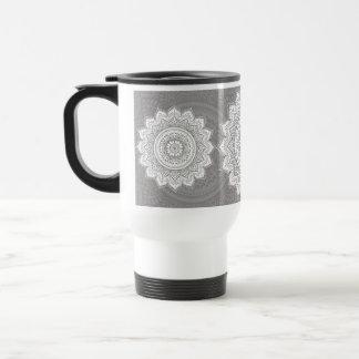 White flower, Sends it, gray bottom Coffee Mugs