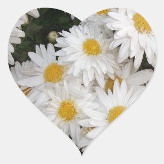 White flower heart sticker