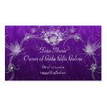 White Flower Swirls On Purple Business Card Template