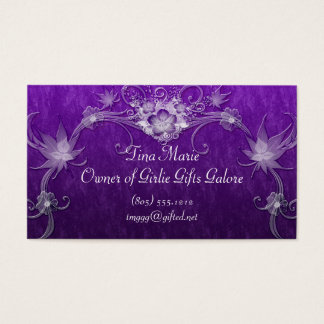 White Flower Swirls On Purple Business Card