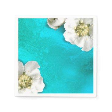 McTiffany Tiffany Aqua White Flower Tiffany Aqua Glass Metallic Delicate Paper Napkin