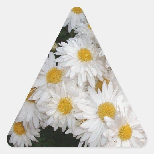 White flower triangle sticker