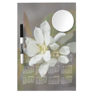 White Flower with Ant; 2013 Calendar Dry Erase Board With Mirror