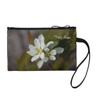 White Flower with Ant; Customizable Coin Wallet