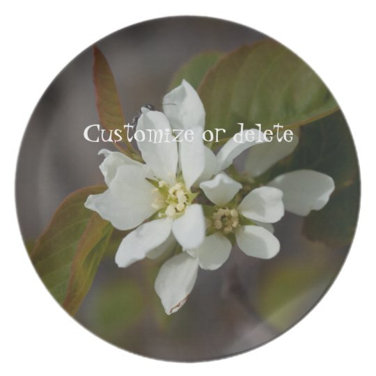 White Flower with Ant; Customizable Melamine Plate