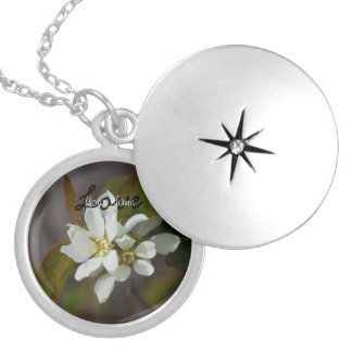 White Flower with Ant; Customizable Round Locket Necklace
