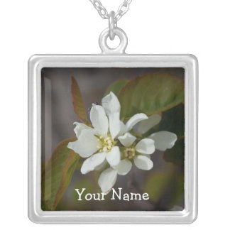 White Flower with Ant; Customizable Square Pendant Necklace