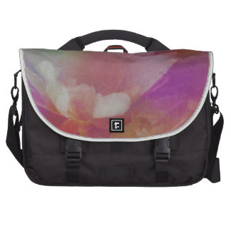 White Flower With Pink Textures Laptop Bags