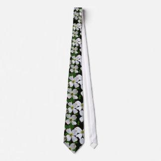 White flowering dogwood blooms tie