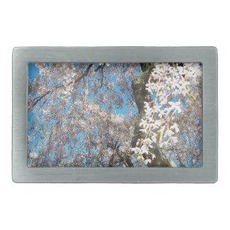 White, Flowering Tree Rectangular Belt Buckle