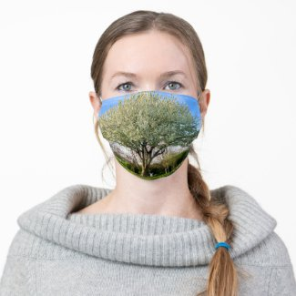 White Flowering Trees Cloth Face Mask