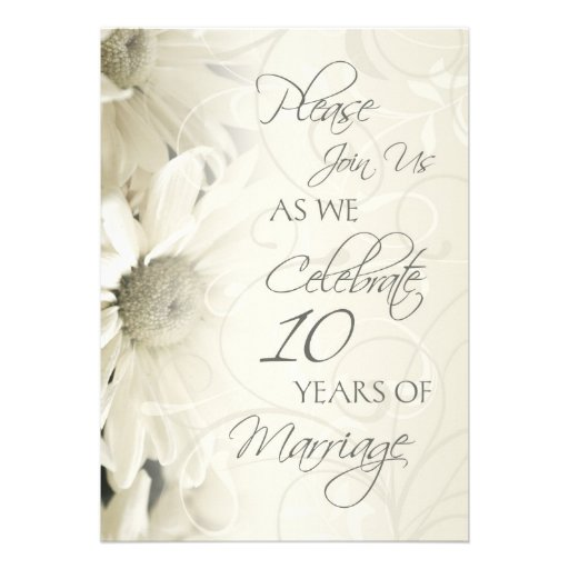 White Flowers 10th Wedding Anniversary Invitations