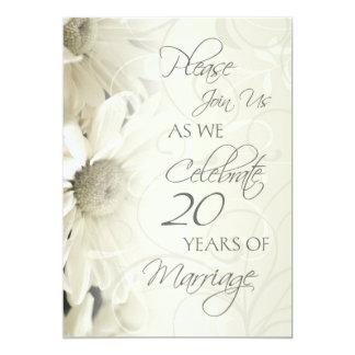 White Flowers 20th Wedding Anniversary Invitations