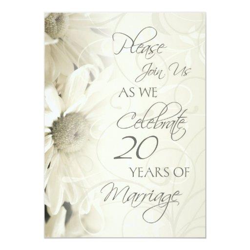 "White Flowers 20th Wedding Anniversary Invitations 5"" X 7"" Invitation Card"