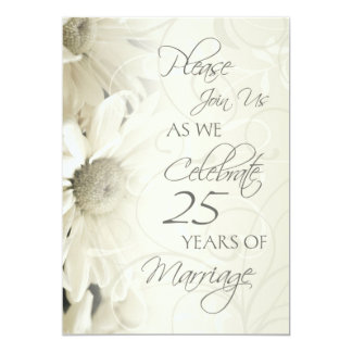 White Flowers 25th Wedding Anniversary Invitations