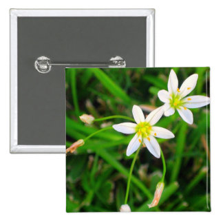 White Flowers 2 Inch Square Button