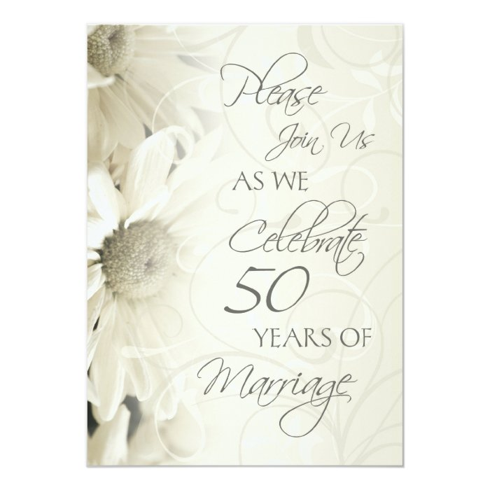 white flowers 50th wedding anniversary invitations zazzle. Black Bedroom Furniture Sets. Home Design Ideas