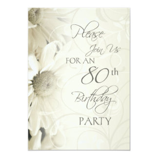 White Flowers 80th Birthday Party Invitations