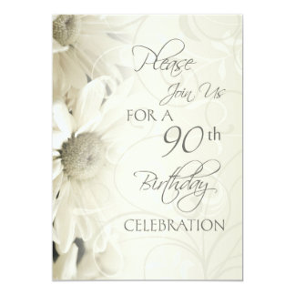 White Flowers 90th Birthday Party Invitations
