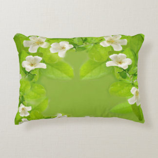 White Flowers Accent Pillow
