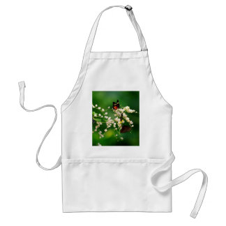 White flowers and a fluttering butterfly adult apron