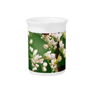 White flowers and a fluttering butterfly beverage pitchers