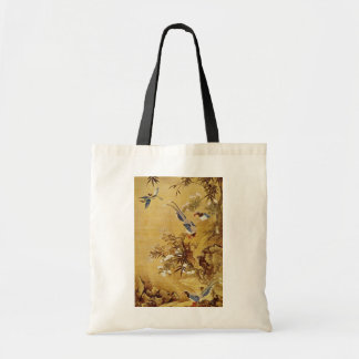 white Flowers and Bird, Hsiao Yung flowers Budget Tote Bag
