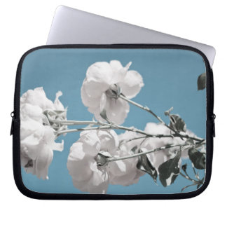 White Flowers and Blue Sky Laptop Computer Sleeve