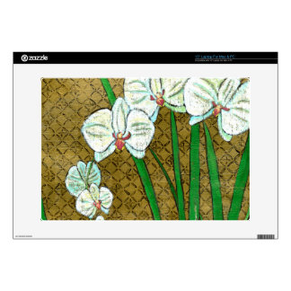 """White Flowers and Green Stems on Brown Border 15"""" Laptop Decals"""